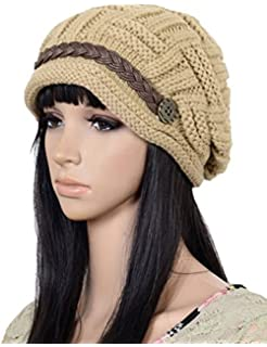 4b1f92aa1eb442 ELACUCOS Women Winter Beanie Cabled Checker Pattern Knit Hat Button Strap  Cap