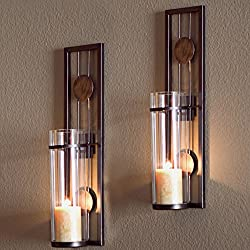 Danya B Decorative Metal Wall Sconce - Pillar Candle Holders - Elegant and Modern - Contemporary Design - Wall Mount - Easy to Hang - Set of 2 - Crafted