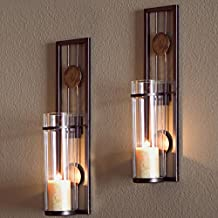 Decorative Metal Wall Sconce - Pillar Candle Holders - Elegant and Modern - Contemporary Design - Wall Mount - Easy to Hang - Set of 2 - Crafted by Danya B.