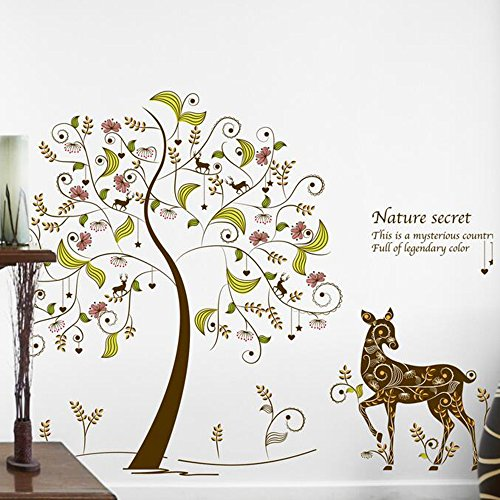 Kaimao Fairy Tree Cute Deer Wall Stickers Art Decal Murals Removable Wallpapers for Home Decoration