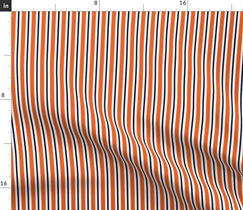 Spoonflower University Fabric - Tigers Alabama Stripe Navy and Orange Print on Fabric by The Yard - Eco Canvas for Durable Upholstery Home Decor Accessories