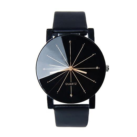 Zarupeng Reloj redondo de cuero del reloj del dial del cuarzo de los hombres de 1PC Ronda (Negro): Amazon.es: Relojes