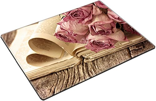 MSD Place Mat Non-Slip Natural Rubber Desk Pads design 23174020 Dry roses on an old book in a vintage style