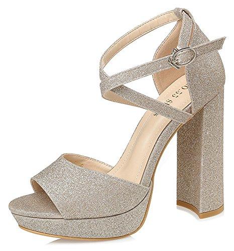 Aisun Women's Sexy Sequined Buckled Cross Strap Club Shoes Peep Toe High Block Heel Platform Sandals Gold
