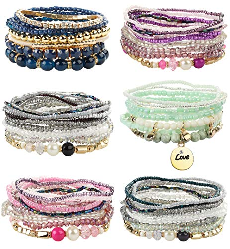 FIBO STEEL 6 Sets Bohemian Stackable Bead Bracelets for Women Girls Stretch Multilayered Bracelet Set Multicolor Jewelry