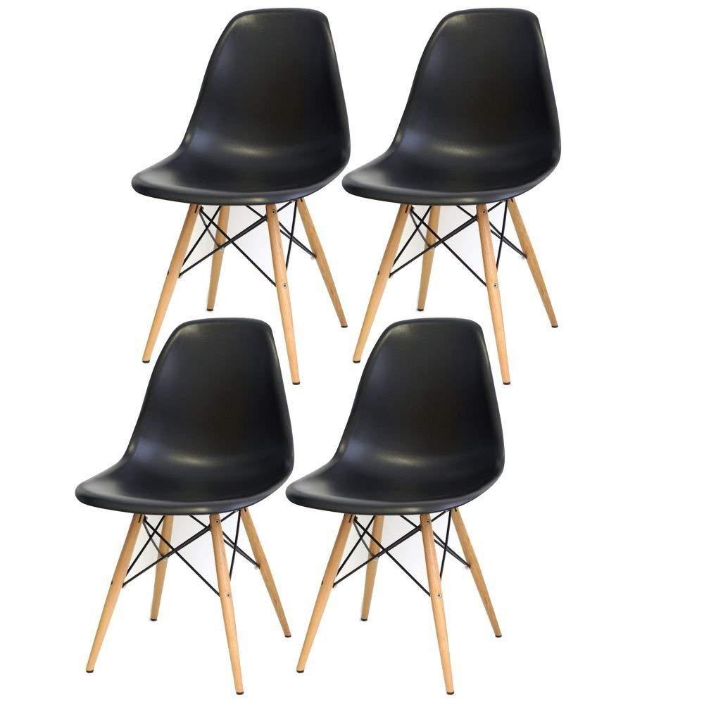 Kit 04 Cadeiras Decorativas Eiffel Charles Eames Preto com Pés de Madeira - Lym Decor