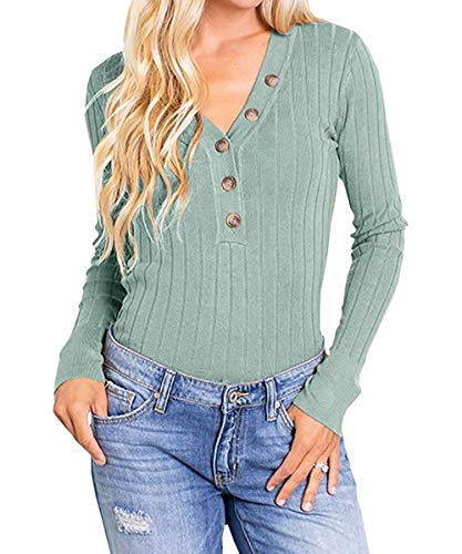 (Womens Notch V Neck Sweater Button Up Ribbed Long Sleeve Plain Knit Henley Tops)