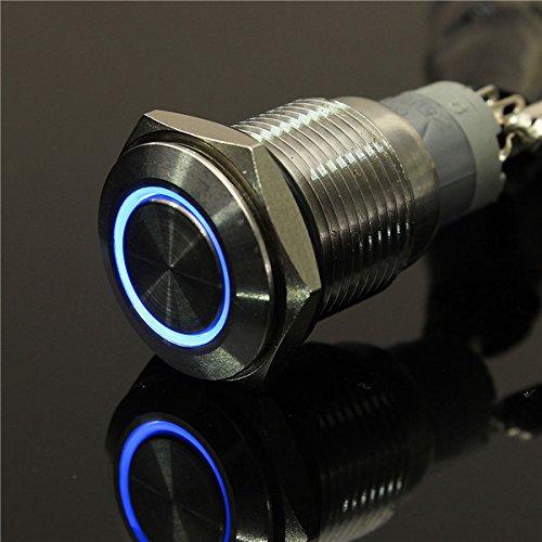 (CynKen Blue 12V 16mm Angel Eye Metal illuminated LED Push Button Switch Car Dash )