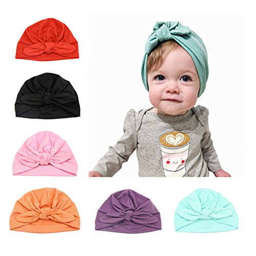 CANSHOW 6 Pcs Baby Hat Girl Newborn Beanie Cute Soft Cotton for Infant Girl Turban 3-12 (Acute Girl)