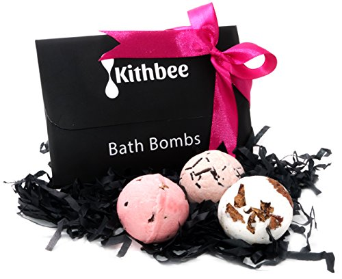 Bath Bombs Gift Set by Kithbee, Pack of 6 Skin Moisturizing Bath Bomb Fizzies, Luxury Beauty Box for Dry Skin, Valentine's Gifts for Women, Her,Mom, Kids,Bridesmaid, Natural Handmade Home Spa Kit