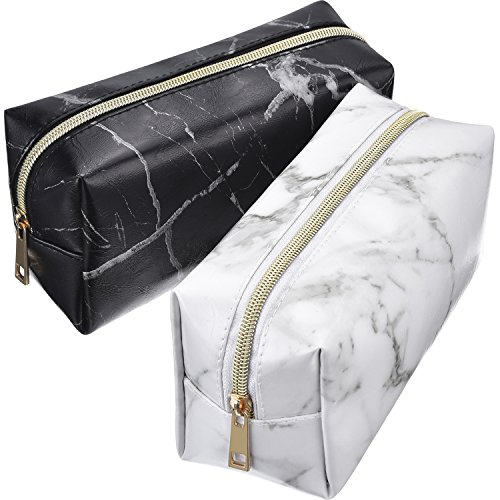 Mtlee 2 Pieces Cosmetic Toiletry Makeup Bag Pouch Gold Zipper Storage Bag Marble Pattern Portable Makeup Brushes Bag (White and Black)