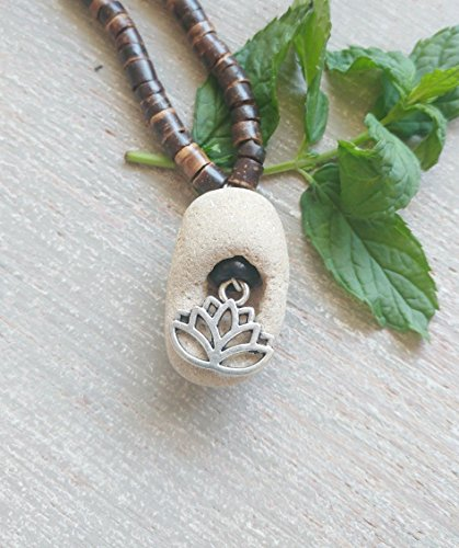 Faerie Made Natural - Lotus Hag Stone Necklace, Beaded Necklace with Natural Witches Amulet and Charm, Spiritual Jewelry