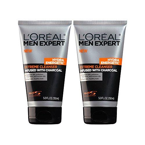 L'Oréal Paris Men's Expert Hydra Energetic Charcoal Face Wash Cleanser, 2 Count