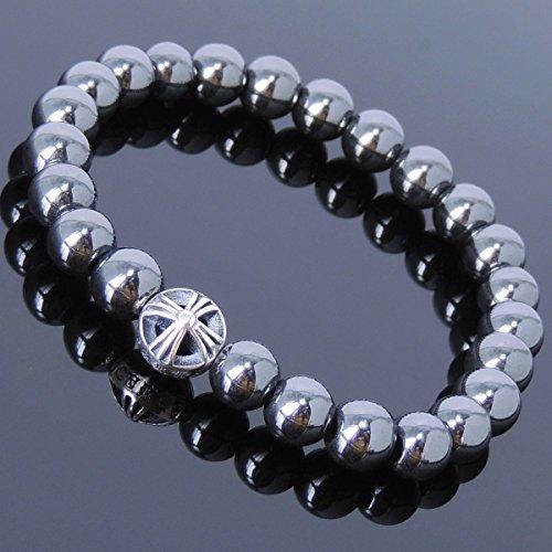 Men and Women Bracelet Handmade with 8mm Hematite Gemstone and Genuine 925 Sterling Silver Celtic Cross ()