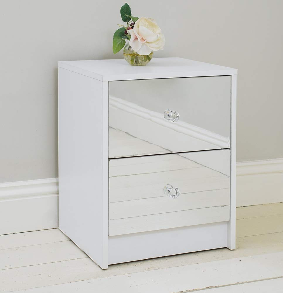 Addspace 2 Drawer Mirrored Bedside Table Matt White Frame Bedroom Furniture Storage