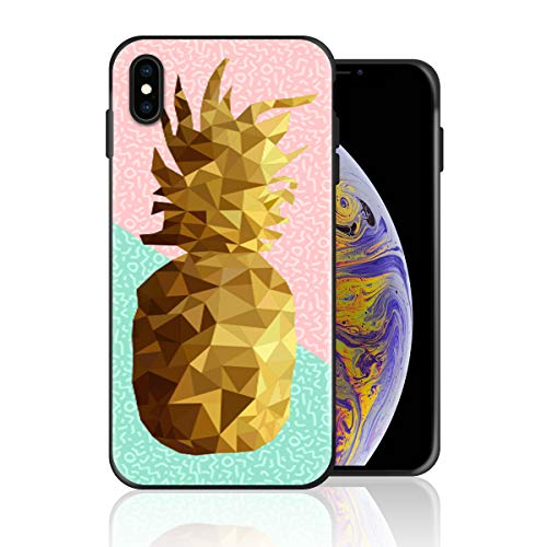 Silicone Case for iPhone Xs Max, Memphis Style Pink and Teal Pineapple Design Printed Phone Case Full Body Protection Shockproof Anti-Scratch Drop Protection Cover -