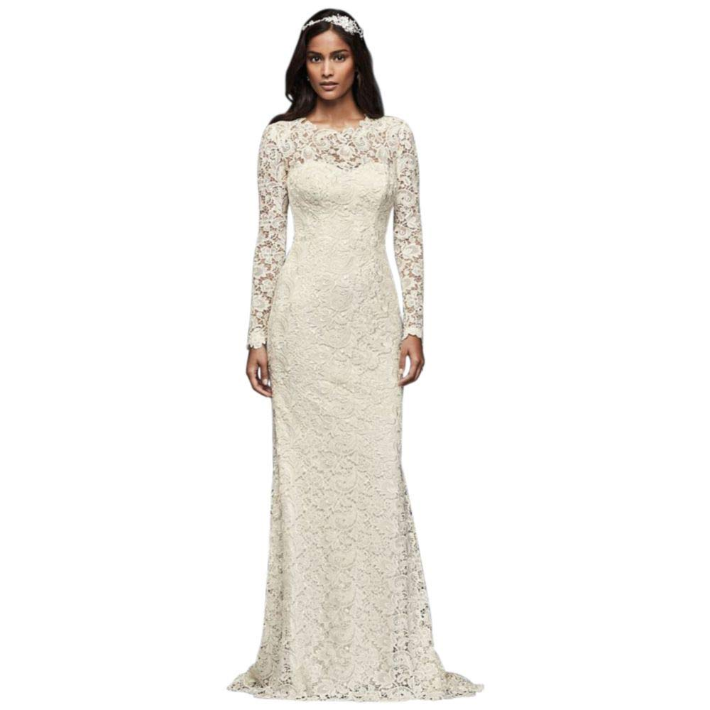 Sample As Is Long Sleeve Lace Wedding Gown With Open Back Style