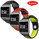 For Fitbit Ionic Bands, VODKE Soft Silicone Replacement Sports watch Bands/Strap/Bracelet/Wristband Accessory For Fitbit Ionic Men Women Large Pack of 3pcs Type 1
