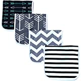 "Burp Cloths for Babies, 20"" by 10"" 3 Layers, Cotton Plus Absorbent Fleece, Grey Wave Black Stripes Arrows Set, 4 Pack"