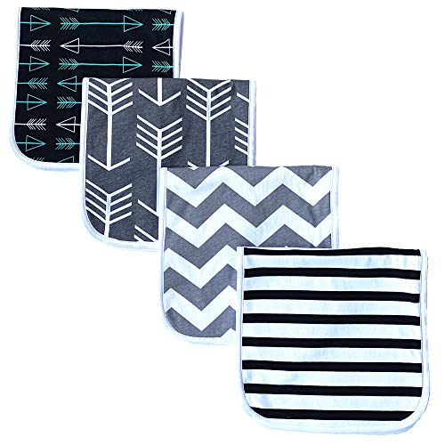 Burp Cloths for Babies, Grey Wave Black Stripes Arrows Set, 20