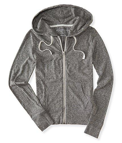 (Aeropostale Womens Heathered FZ Hoodie Sweatshirt Grey L - Juniors )