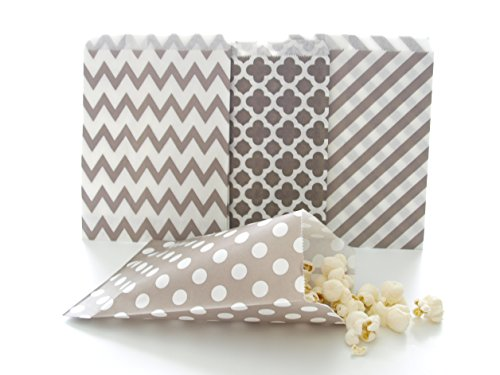 Silver Wedding Candy Bags, Decorative Paper Bags, Party Goody Treat Bags (100 Pack) - Grey Striped, Spanish Tile, Polka Dot & Chevron (Purple And Grey Wedding)