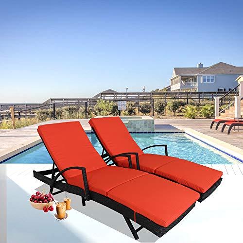 Patio Furniture PE Rattan Black Recliners Garden Chaise Lounge Set of 2 Outdoor Lounger w/Armrest Orange Cushion