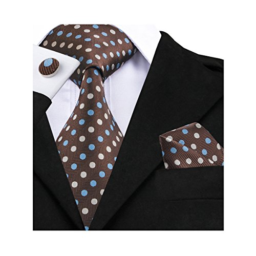 Barry.Wang New Classic Brown Polka Dot Tie Set - New Classic Elements