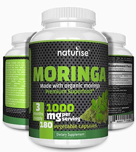 Moringa Capsules (Made with USDA Organic Moringa Leaf Powder) 180 Moringa Pills, 1000mg High Potency, 3 Months Supply, Non-GMO, Vegan, Natural Breastfeeding Supplement, Green Superfood