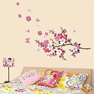soxid (TM) hermosa Peach Blossom flores extraíble pegatinas de vinilo de pared Arte dodoskinz Mural de papel pintado para habitación decoración para el hogar
