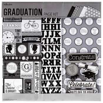 Graduation 12x12 Page Kit, 13 pcs, Scrapbook, Photo Album, Memory Page, Shadow Box, cards, celebration, college, high school, commencement (Shadow Box Scrapbook)