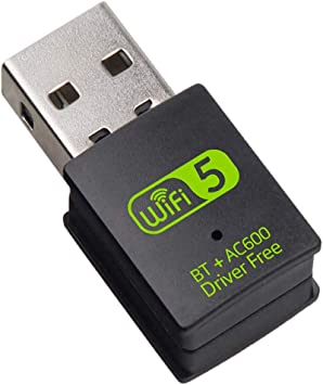 SHIVR Adaptador USB WiFi Bluetooth, 600 mbps de doble banda 2.4G/5G inalámbrico WiFi dongle receptor externo mini dongle tarjeta de red para ordenador ...