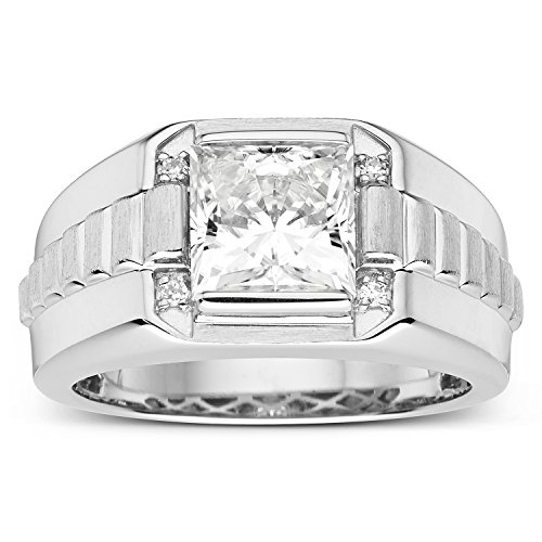 Forever Classic Mens Square 8.0mm Moissanite Wedding Band...