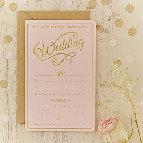 Ginger Ray Evening Pastel & Gold Foiled Wedding Invitations (10 Pack), Pink