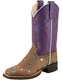 Old West Kids Boots Unisex Inlay Toe Leatherette Toddler//Little Kid