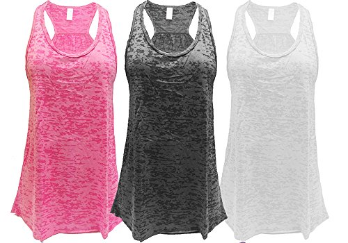- Epic MMA Gear Flowy Racerback Tank Top, Burnout Colors, Regular and Plus Sizes, Pack of 3 (XL, Pink/Black/White)