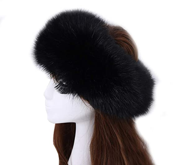 Women s Faux Fur Headband Elastic Head Warmer Luxurious Earmuff Snow Hat  Black e0ab48f5042c