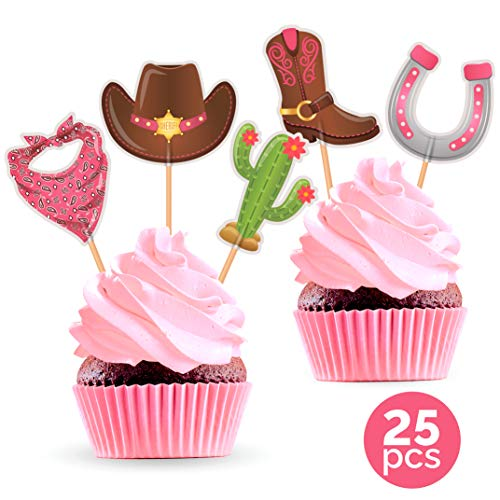 Cowgirl Decorations For Birthday Party (Cowgirl Party Cupcake Toppers - Western Cowboy Theme Birthday or Baby Shower Decorations Supplies - 25)