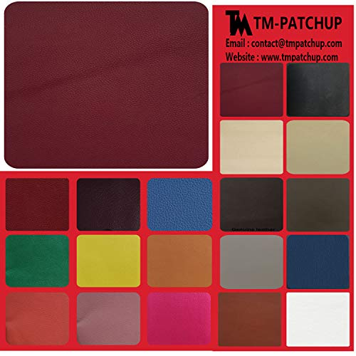 TMpatchup Genuine Leather and Vinyl Repair Patches Kit - Grain Self Adhesive Leather to Repair Furniture, Couch, Sofa, Jacket - Multiple Colors and Sizes Available (3-inch x 3-inch) (Burgundy)