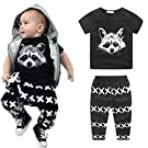 Mosunx Newborn Baby Boys Short Sleeve Outfits T-shirt Tops+Pants Clothes Set (12-18 Month, Black)
