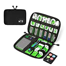 BAGSMART Small Universal Cable Organizer Travel Electronic Accessories Bag Case for Apple wires, Cables, USB Keys, Plugs, Earphones, Black