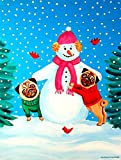 Cheap Caroline's Treasures 7115CHF Snowman with Pug Flag Canvas, Large, Multicolor