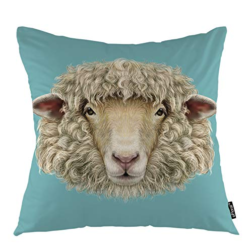 (oFloral Sheep Throw Pillow Cover Farm Animal Male Goat Face Decorative Pillow Case Home Decor for Sofa Bedroom Liveroom 18x18 Inch)