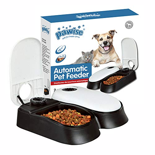 PAWISE 2-Bowl Automatic Pet Feeder for Dogs and Cats, Food Dispenser Station with Timer, 48-Hour, 1.5 Cups