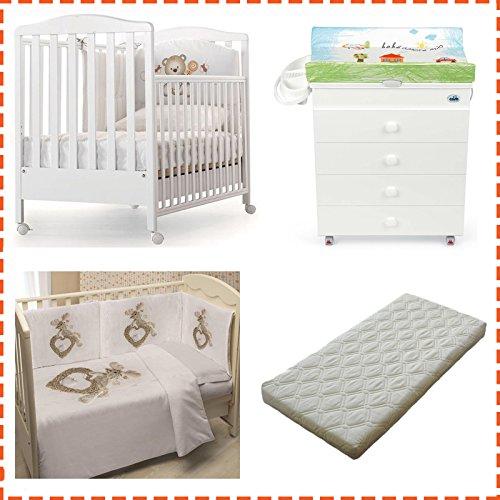Kinderbett Web Azzurra Design + Wickelauflage Asien Cam + Steppbett mit Fotodruck + Matratze abziehbar (Bär)