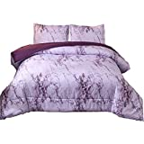 Dark Purple Comforter Sets Queen NTBED Marble Comforter Set Queen Purple, 3pcs Bed Sets - 1 Quilt with 2 Pillow Shams,Modern Bedding for Adults
