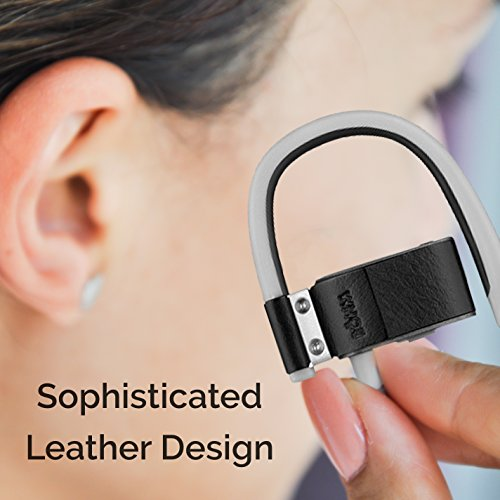 e98da6aa2ce BÖHM S6 Leather Bluetooth Headphones Wireless in-Ear Earbuds Sweatproof  Secure Fit Earphones 3D Stereo Sound (Black)