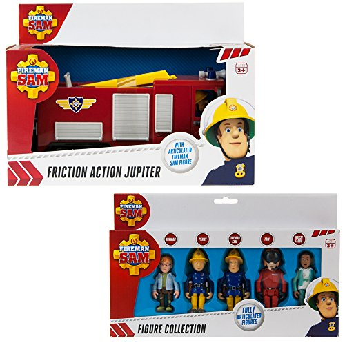 Fireman Sam Friction Fire Engine Jupiter & 5 Figure Articulated Set - Friction Fire Engine