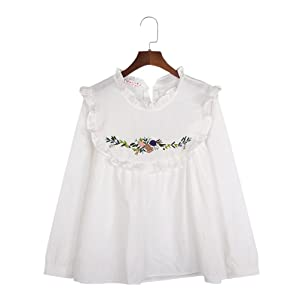 Focal20 Womens Loose Blouse Flowers Embroidery Lotus Leaf Long Sleeve White Tops