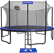 SONGMICS Trampoline with Enclosure, 15-Foot Outdoor Backyard Trampoline for Kids